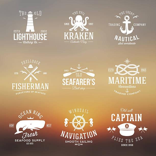 ilustraciones, imágenes clip art, dibujos animados e iconos de stock de conjunto de etiquetas vintage náuticas retro la tipografía o las señales con - tatuajes náuticos