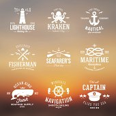 Set of Vintage Nautical Labels or Signs With Retro Typography