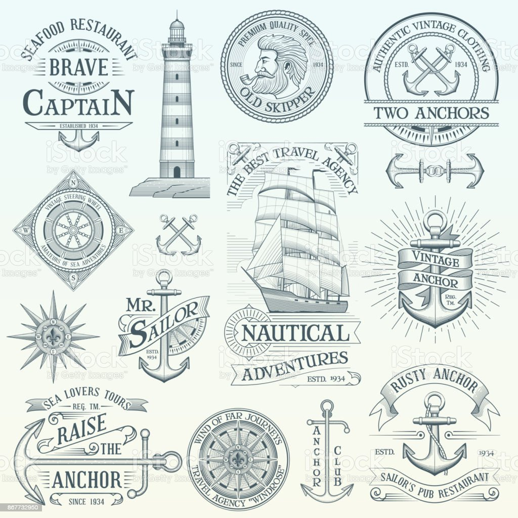 Set of vintage nautical labels vector art illustration