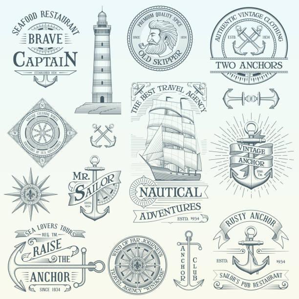 satz von vintage nautische etiketten - wasserfahrzeug stock-grafiken, -clipart, -cartoons und -symbole