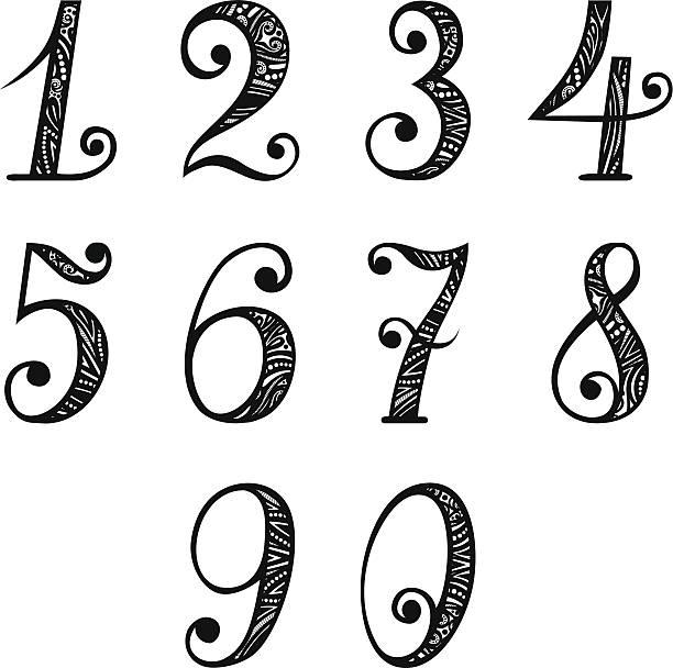 Set Of Vintage Numbers Vector Art Illustration