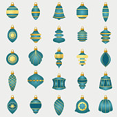 Vintage style ornaments with gold texture.