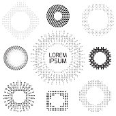 Set of vintage patterns of dots and squares, frames and design elements