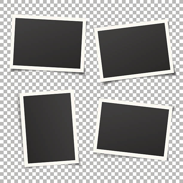 set of vintage photo frames isolated on background. vector eps. - eski stock illustrations