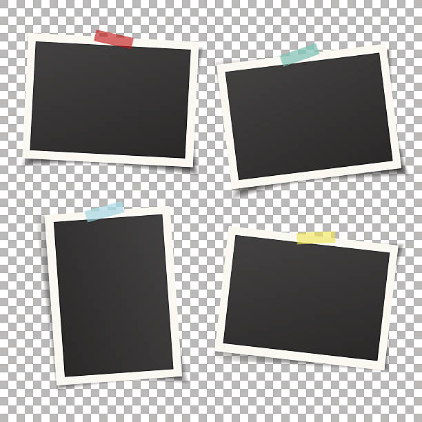illustrations, cliparts, dessins animés et icônes de set of vintage photo frames with adhesive tape. vector mockup. - bordures pour cadres photo