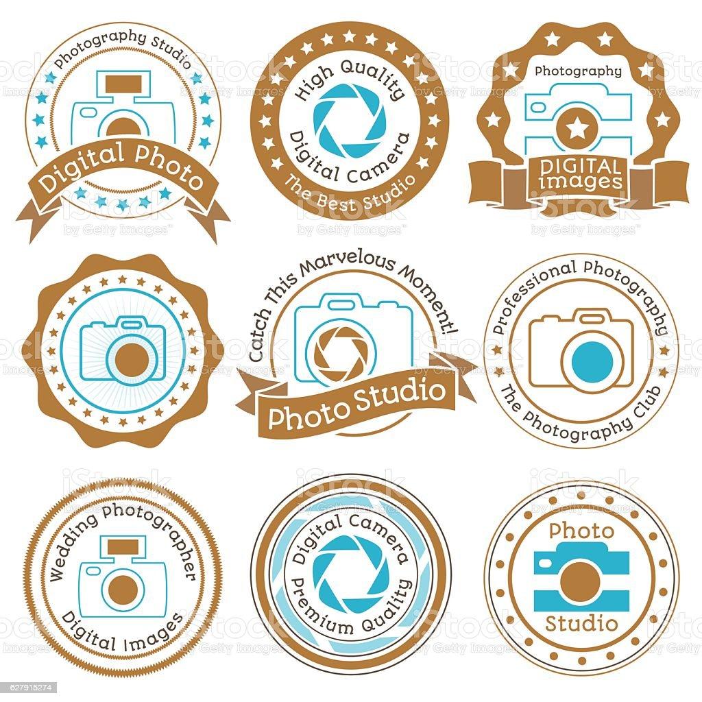 Set of vintage photo studio beige and blue badges on vector art illustration