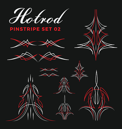 Set of vintage pin striping line art. include un-expand path.