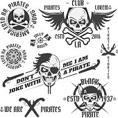 Set of vintage pirate emblems, tattoo, icon, t shirt