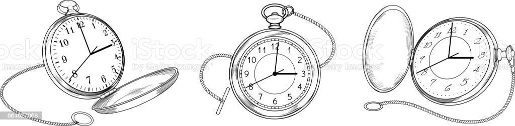 Set of vintage pocket watches vector art illustration