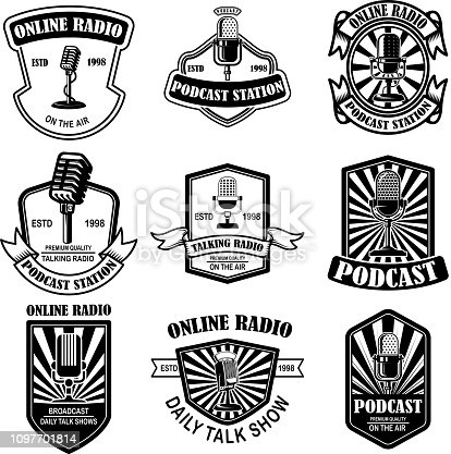 Set of vintage podcast, radio emblems with microphone. Design element for label, sign, badge, poster. Vector illustration