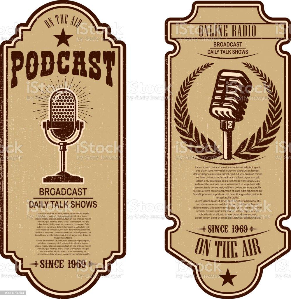 Set Of Vintage Podcast Radio Flyers With Microphone Design Element For  Label Sign Badge Poster Stock Illustration - Download Image Now