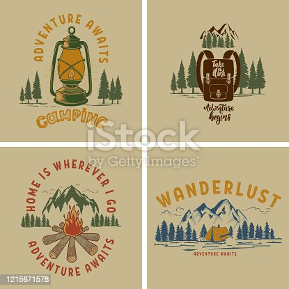 Set of  Vintage poster designs with mountains, forest silhouettes, campfire, tourist backpack. For poster, banner, emblem, sign. Vector illustration