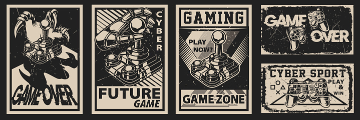 Set of vintage posters on the theme of gaming