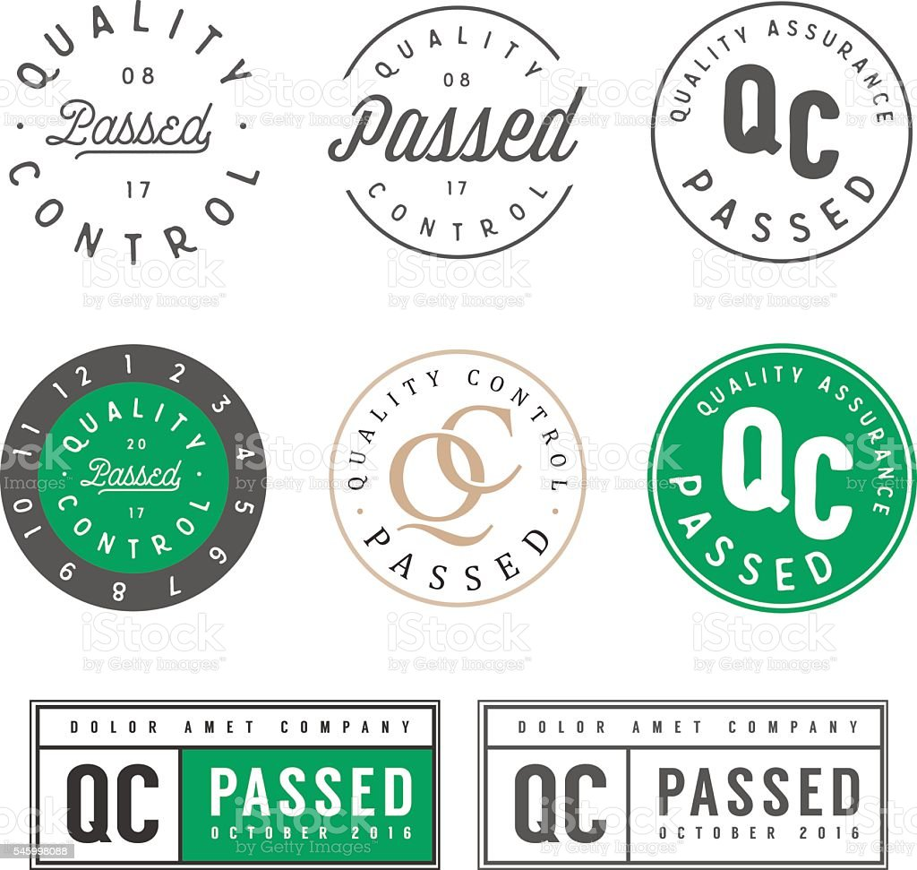 Set of vintage quality control passed stamps and stickers vector art illustration
