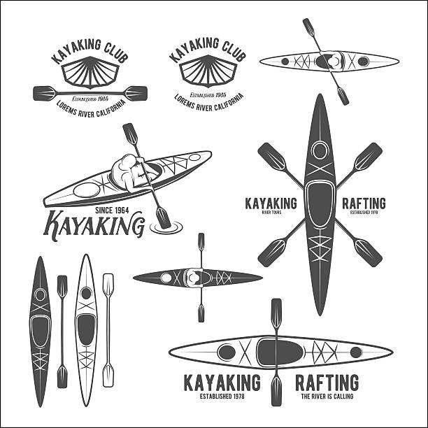 set of vintage rafting labels - kayaking stock illustrations, clip art, cartoons, & icons