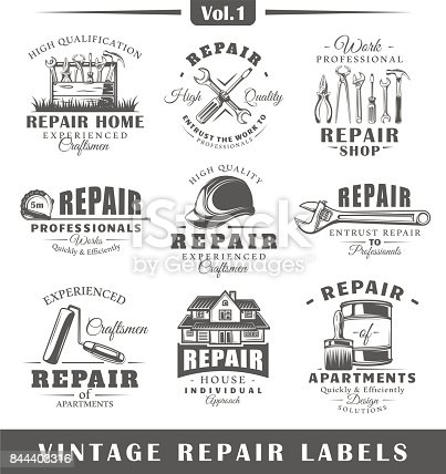Set of vintage repair labels. Vol.1.  Posters, stamps, banners and design elements. Vector illustration