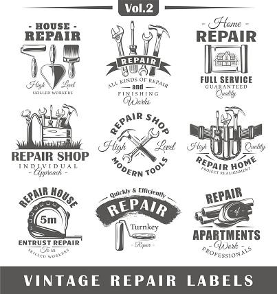 Set of vintage repair labels. Vol.2