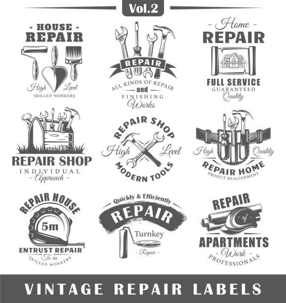 satz von oldtimer reparatur etiketten. vol. 2 - handwerker stock-grafiken, -clipart, -cartoons und -symbole