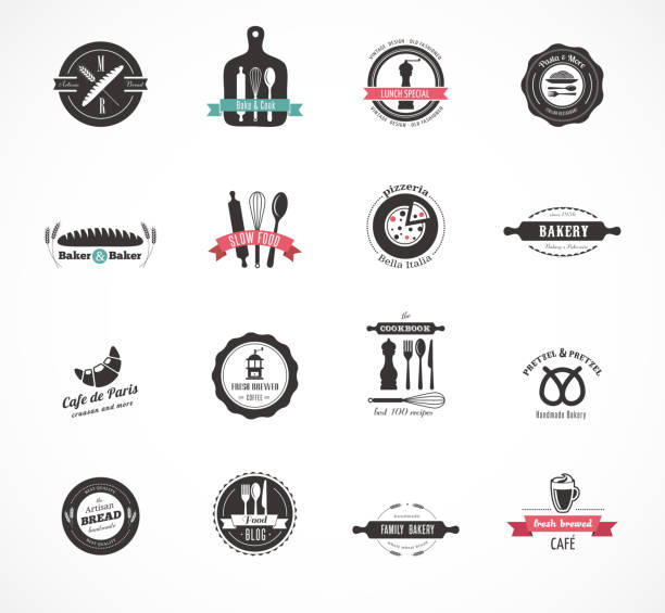 Set of vintage restaurant and food badges, labels Set of vintage restaurant and food badges labels and icons cooking borders stock illustrations