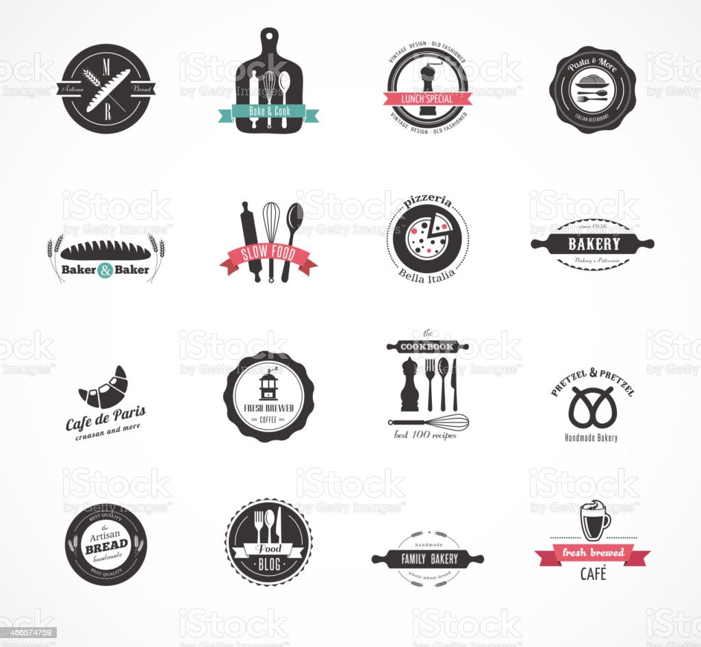 Set of vintage restaurant and food badges, labels vector art illustration