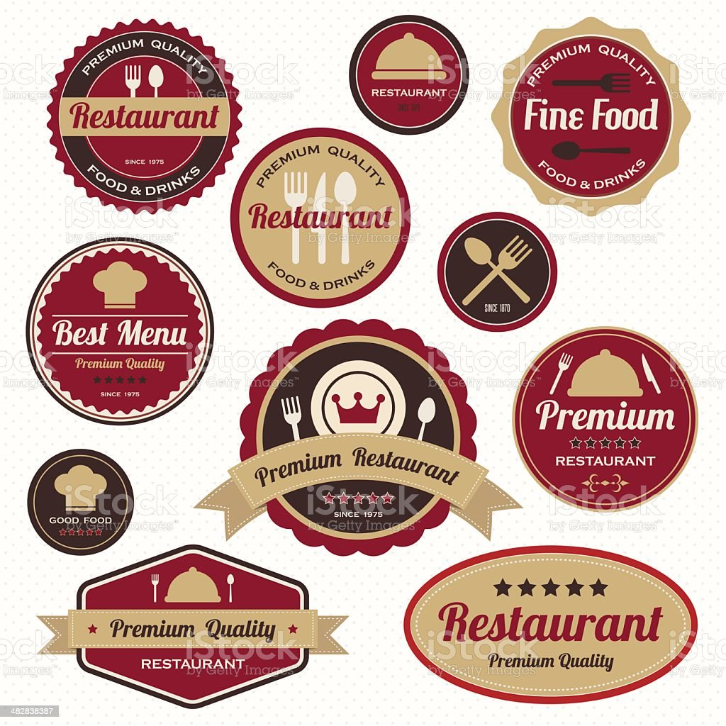 Set of vintage restaurant badges and labels. royalty-free stock vector art