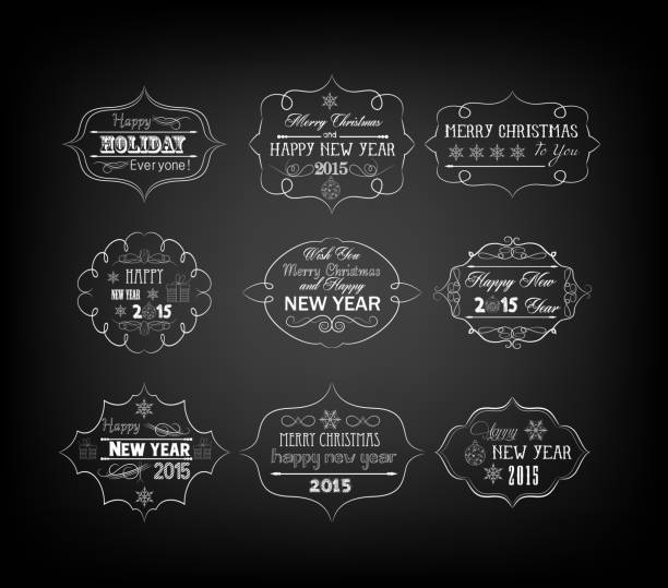set of vintage retro christmas and happy new year labels stock vector art more images of 2013 505771771 istock