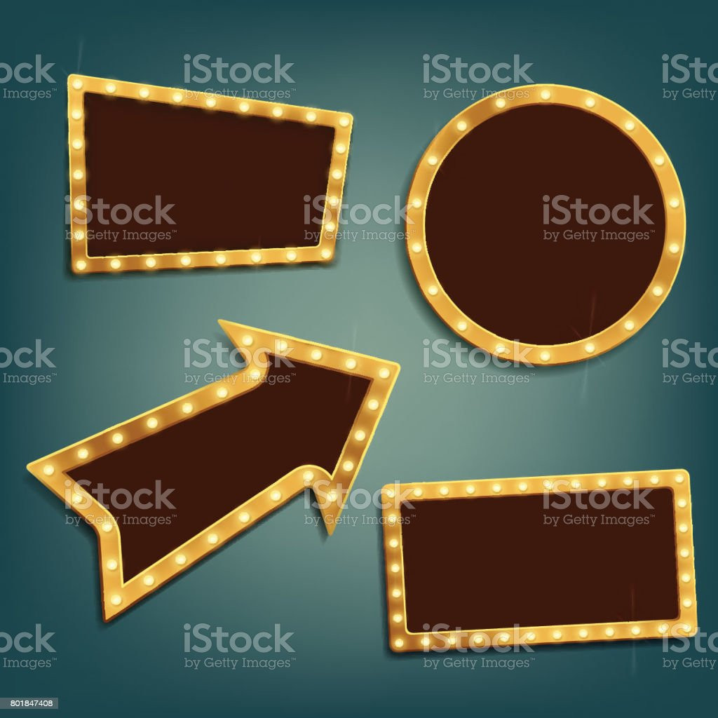 Set of vintage retro frames and banners.