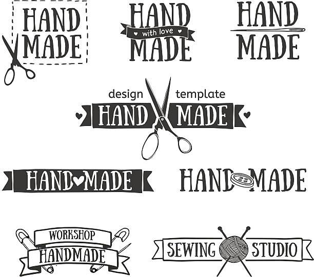 satz von vintage retro handarbeit logo-elemente. - hausgemacht stock-grafiken, -clipart, -cartoons und -symbole