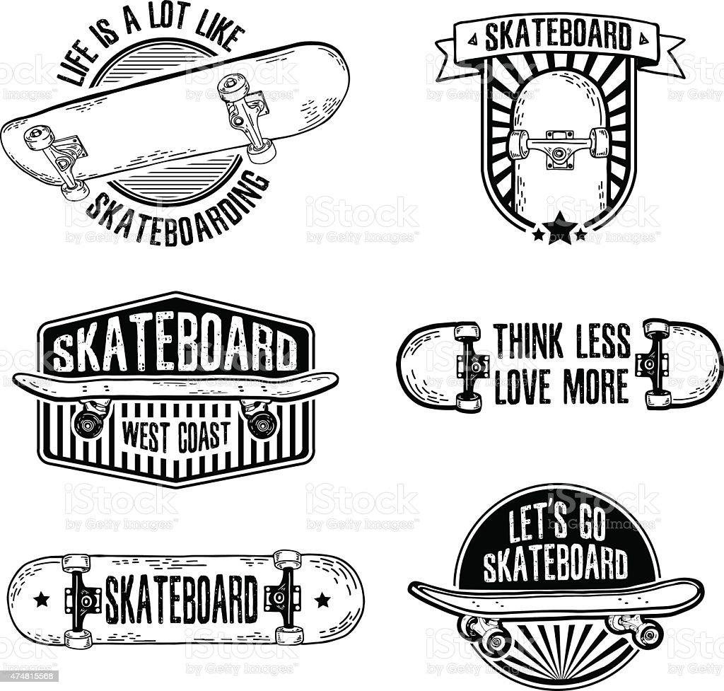 Set Of Vintage Retro Monochrome Logos With Skateboard ...