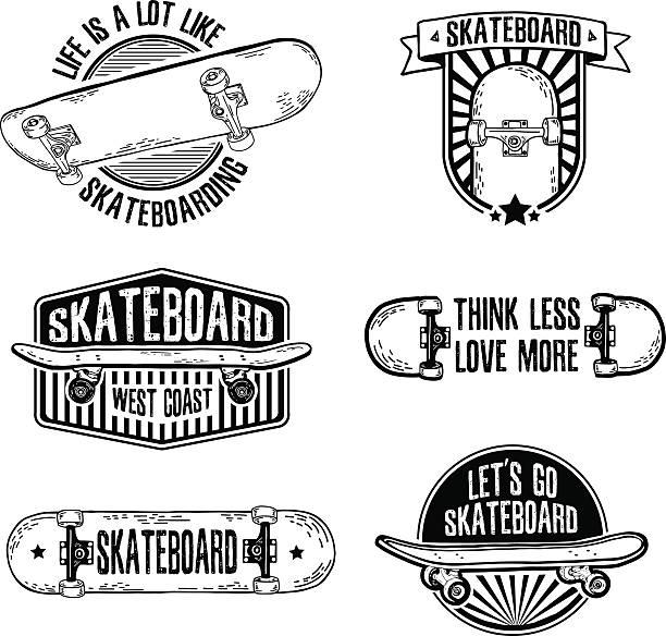ilustrações, clipart, desenhos animados e ícones de conjunto de vintage, retro monocromático logotipos com o skate. - andar de skate