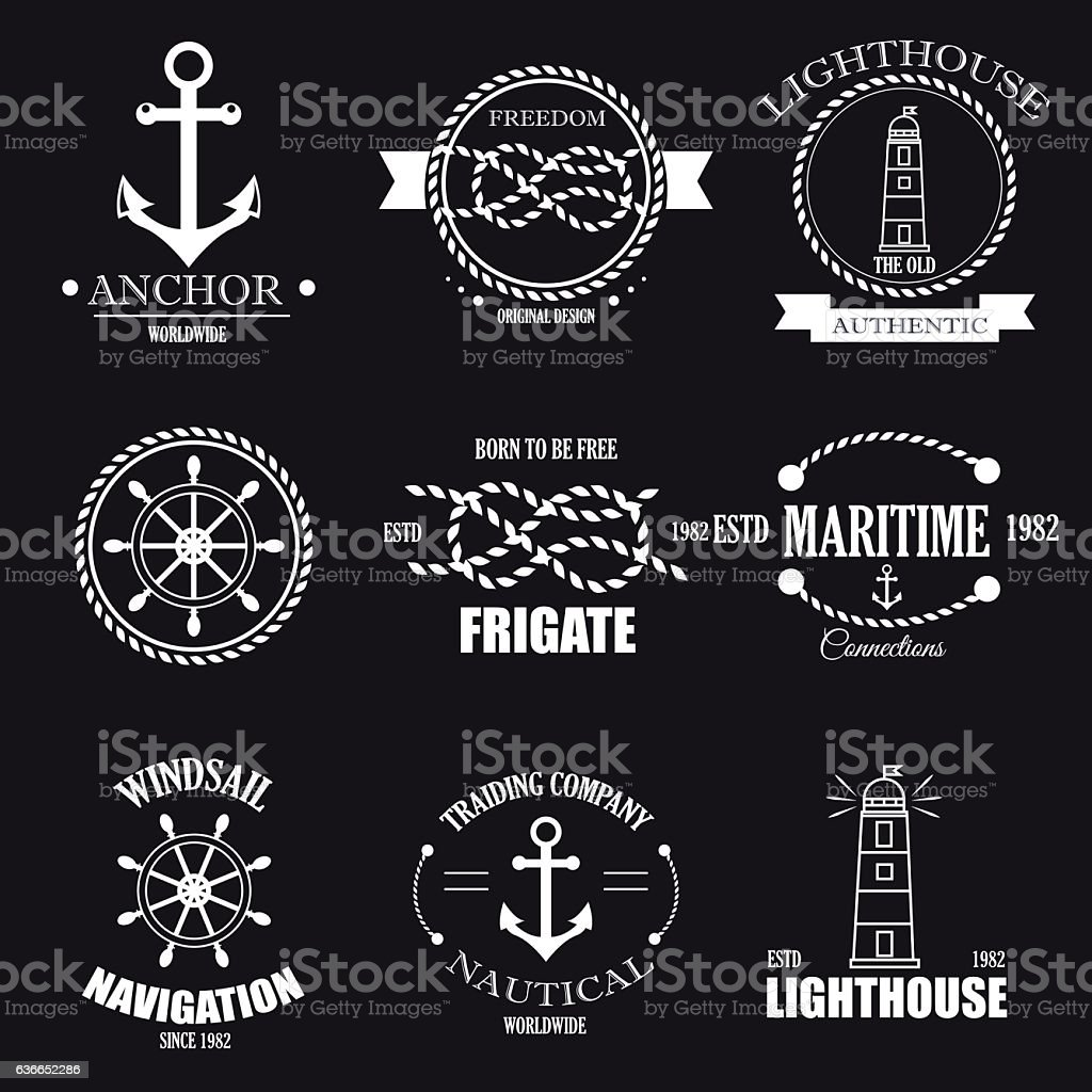 Set of vintage retro nautical badges and vector labels. vector art illustration