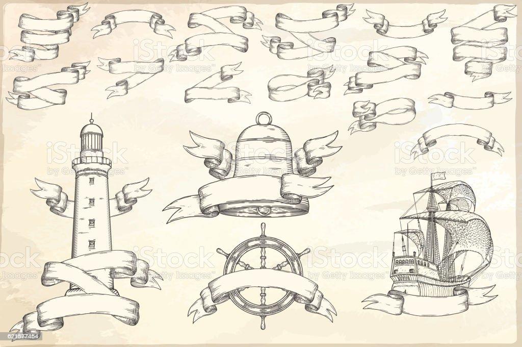 Set of vintage ribbons. set of vintage ribbons – cliparts vectoriels et plus d'images de collection libre de droits