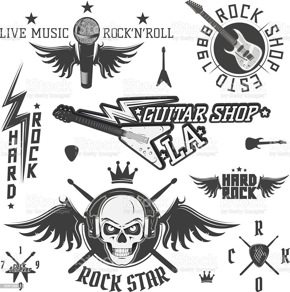 Set of vintage rock and roll design elements for emblems - ilustração de arte em vetor