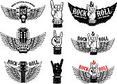 Set of vintage rock music fest emblems. Hand with Rock and roll sign with wings. Design element for  label, sign, poster, t shirt. Vector illustration