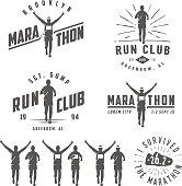 Set of vintage run club labels, emblems and design elements.