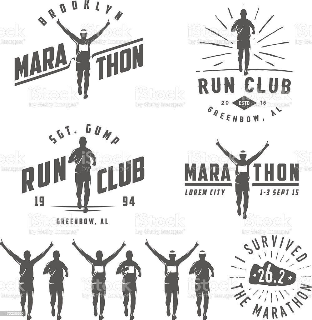 Set of vintage run club labels, emblems and design elements vector art illustration