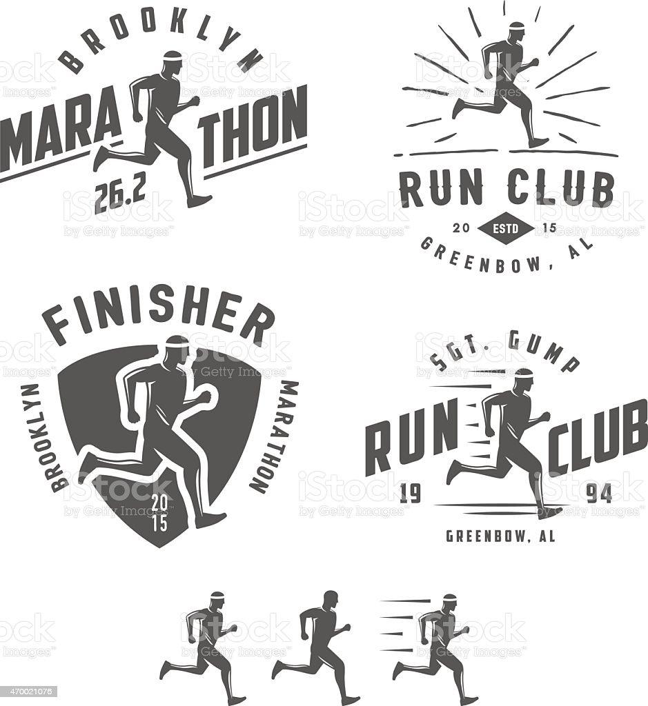 Set of vintage running club labels, emblems and design elements vector art illustration