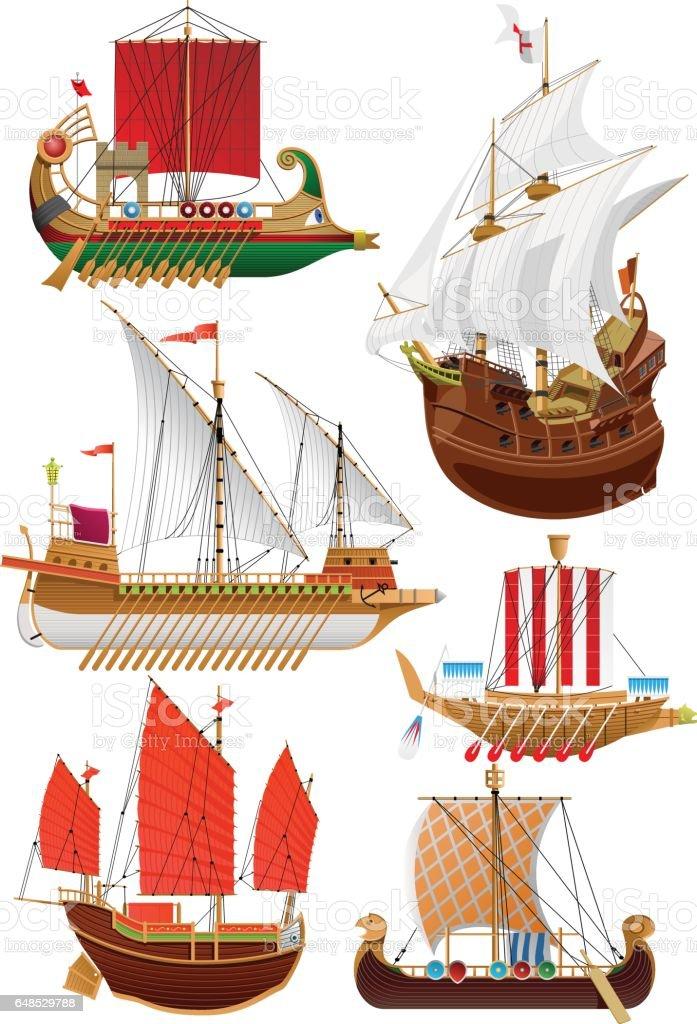 set of vintage sailboats vector art illustration