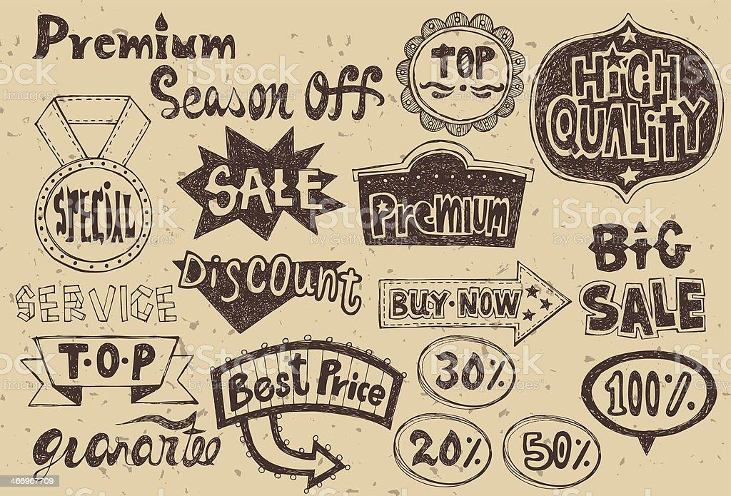 Set of vintage sale element-1 royalty-free stock vector art