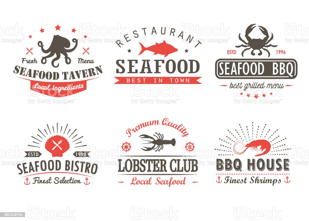 Ensemble de vintage fruits de mer, barbecue, grill logo templates, insignes et éléments de conception. Collection de logos de boutique de fruits de mer, café, restaurant. Illustration vectorielle. - Illustration vectorielle