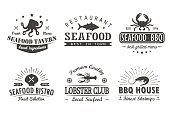 Set of vintage seafood, barbecue, grill logo templates, badges and design elements. Logotypes collection for seafood shop, cafe, restaurant. Vector illustration.