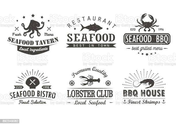 Set of vintage seafood barbecue grill logo templates badges and vector id892349082?b=1&k=6&m=892349082&s=612x612&h=nul svyo3bigeljrhzh090ixh1fam4hheyfuirwhz0u=
