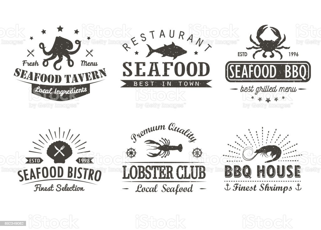 Set of vintage seafood, barbecue, grill logo templates, badges and design elements. Logotypes collection for seafood shop, cafe, restaurant. Vector illustration. vector art illustration