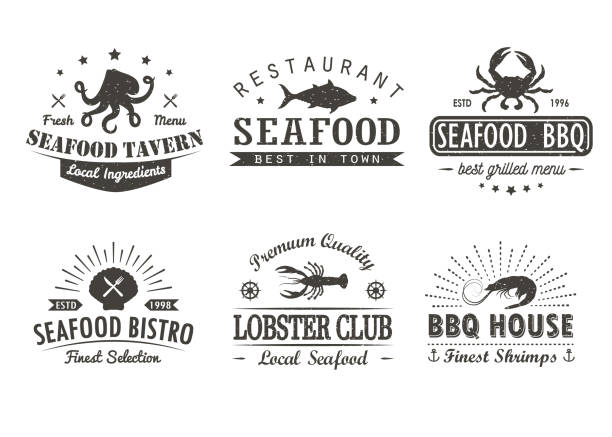 set of vintage seafood, barbecue, grill logo templates, badges and design elements. logotypes collection for seafood shop, cafe, restaurant. vector illustration. - seafood stock illustrations, clip art, cartoons, & icons