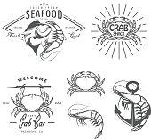Set of vintage seafood labels, badges and design elements
