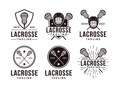 Set of Vintage seal badge lacrosse sport with crossed lacrosse equipment vector icon on white background