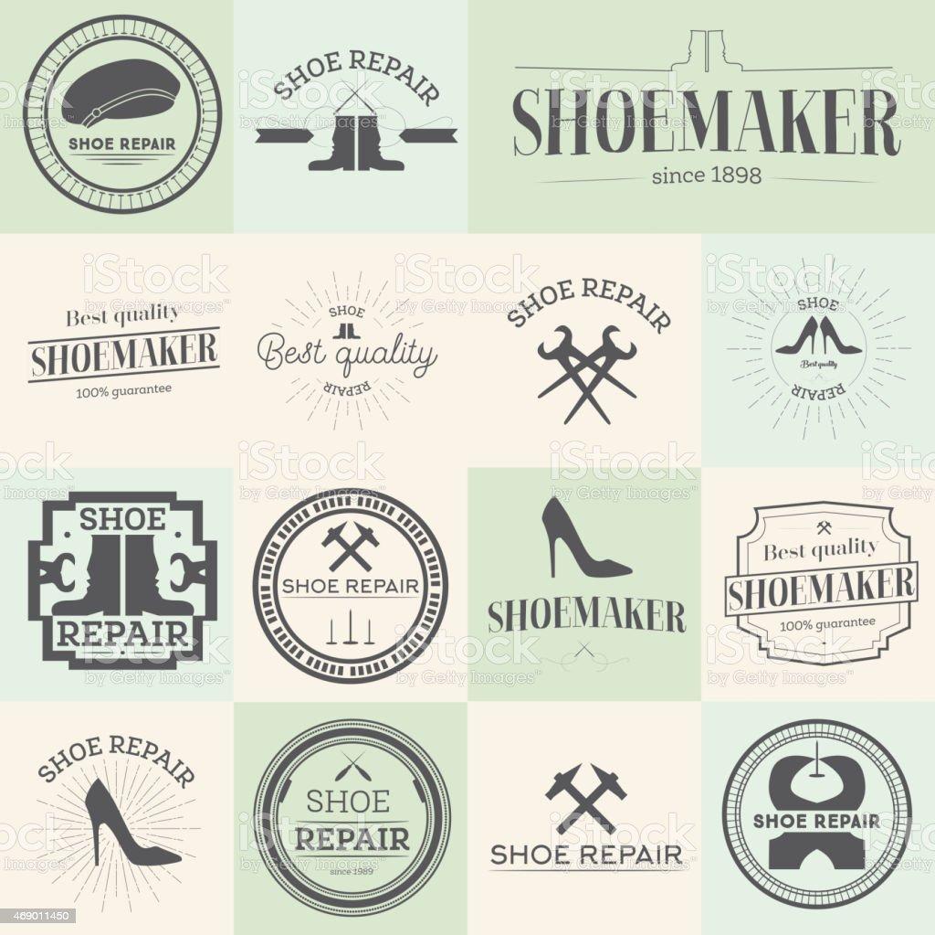 Set of vintage shoes repair and shoemaker labels vector art illustration