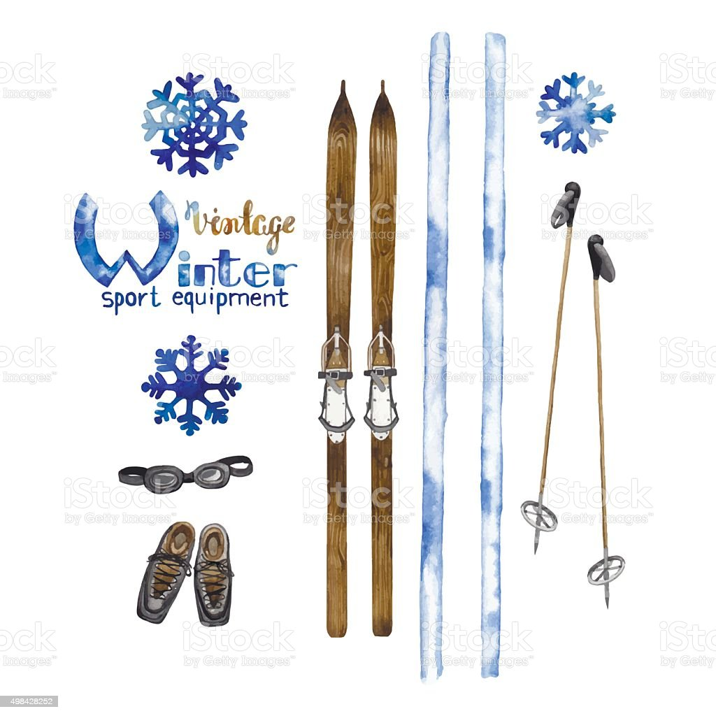 Set of vintage ski equipment vector art illustration