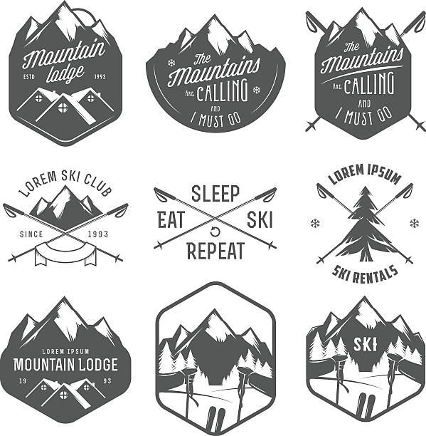 set of vintage skiing labels and design elements - log cabin stock illustrations, clip art, cartoons, & icons