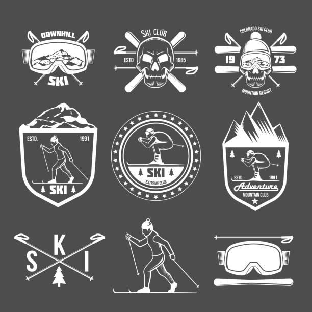 illustrazioni stock, clip art, cartoni animati e icone di tendenza di set of vintage skiing labels and design elements - ski